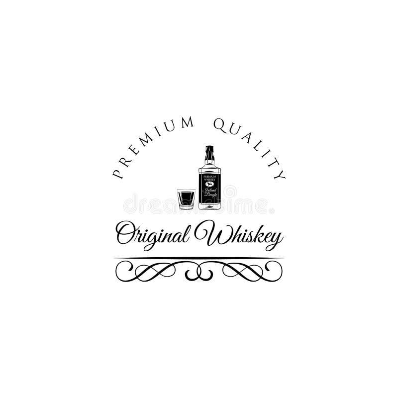 Whiskyflasche und Schußglas Alkohol-Getränk-Weinlesevektor mit Dekoration lizenzfreie abbildung