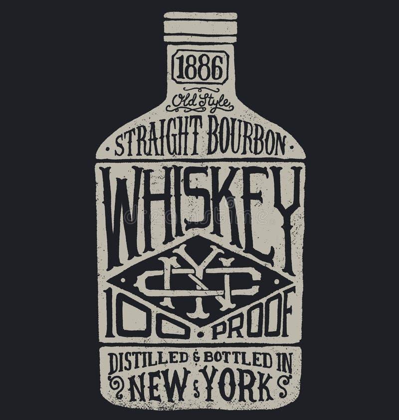 Whiskyflaska med tappningtypografi vektor illustrationer