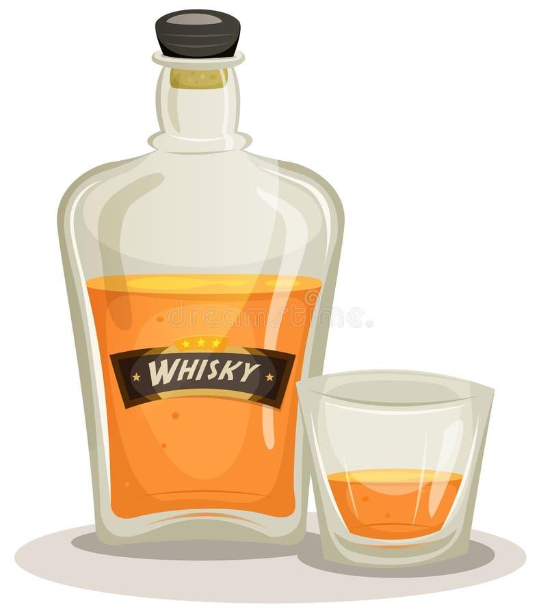 Whiskyflaska och exponeringsglas royaltyfri illustrationer