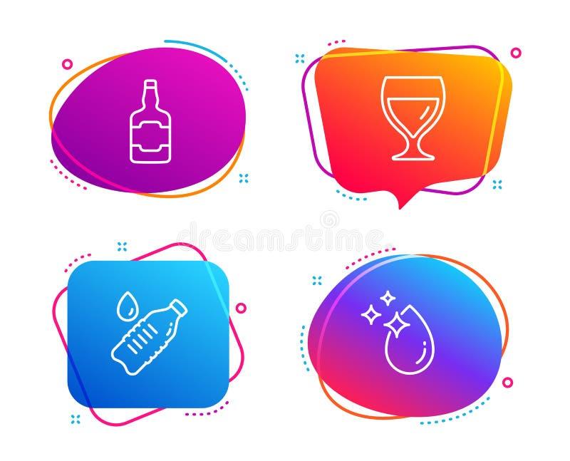 Whiskyflaska, vattenflaska och upps?ttning f?r symboler f?r vinexponeringsglas Vattendropptecken vektor royaltyfri illustrationer