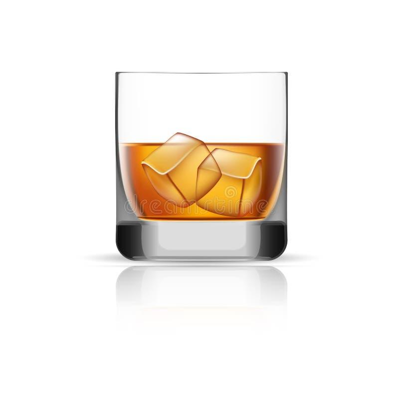 Whiskyglas-Eiswürfelikone, realistische Art lizenzfreie abbildung