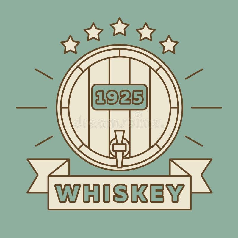 Whiskylogodesign - tappningwhiskyetikett royaltyfri illustrationer