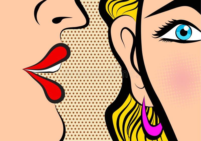Whisperin cómico de la muchacha del chisme del panel del libro del estilo del estilo retro del arte pop libre illustration