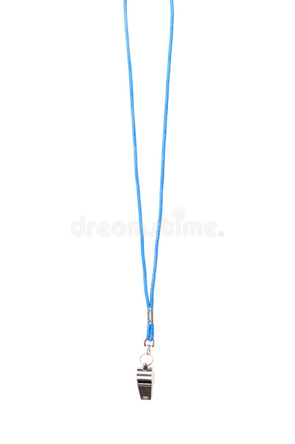 Whistle. Shot of whistle with blue string isolated on white stock images