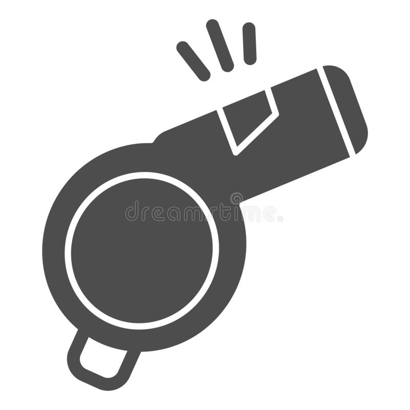 Whistle solid icon. Sport referee whistle illustration isolated on white. Sports blower glyph style design, designed for. Web and app. Eps 10 stock illustration