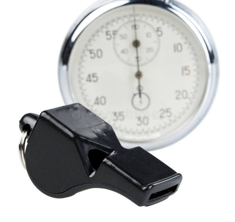 Whistle and stopwatch. Isolated on white. Clipping paths stock images