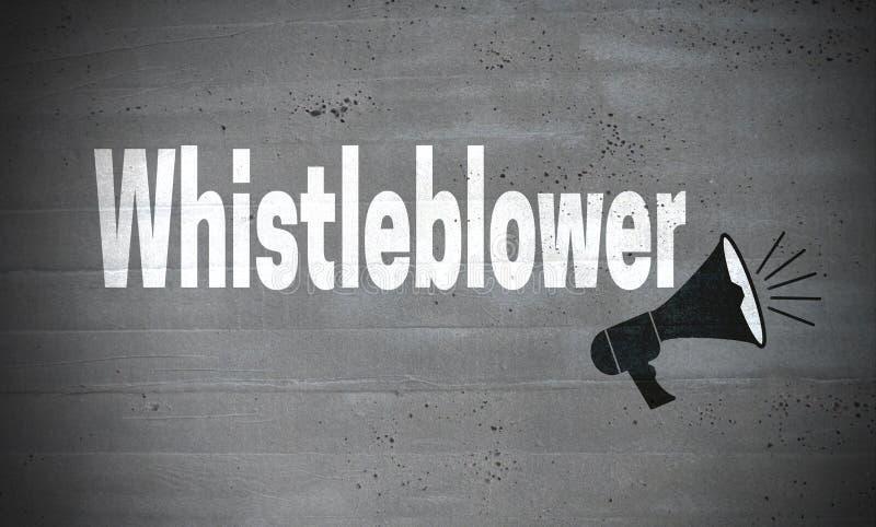 Whistleblower en fondo del concepto del muro de cemento ilustración del vector