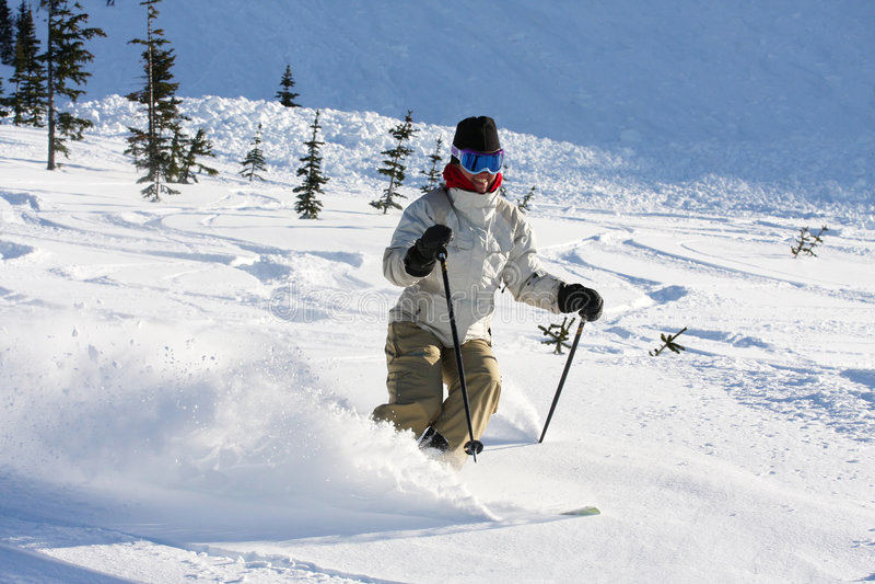 Whistler. A skier descends a trail on Whistler Mountain royalty free stock photos