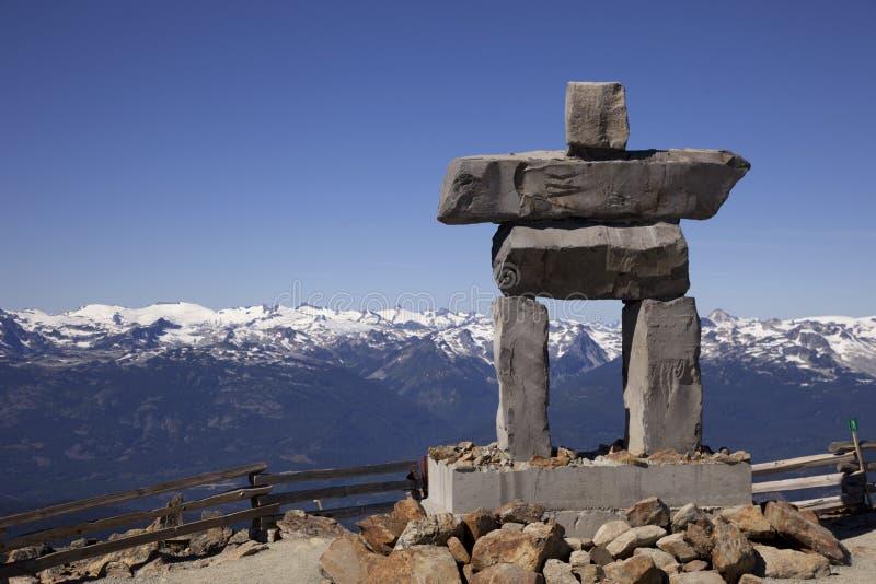 Whistler Alpine Art. An inukshuk on the peak of Whistler Mountain royalty free stock image