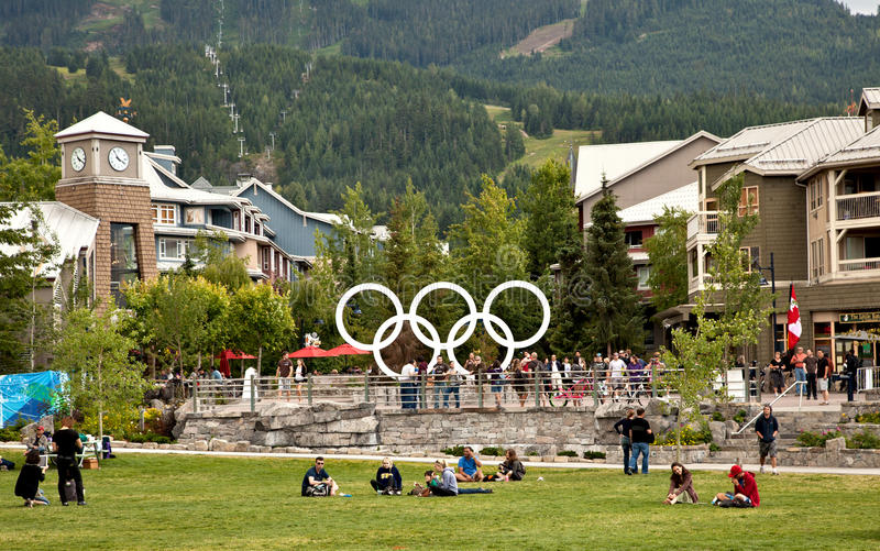 Whistler BC, Canada. Whistler Olympic Plaza is the site where global audiences gathered nightly to see the best athletes in the world step up to the podium at stock photo