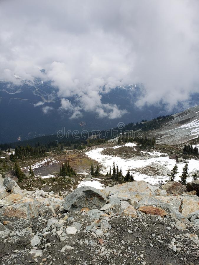 Whistler. Blackcomb, traverse, traverseroad, hiking, snow royalty free stock photography