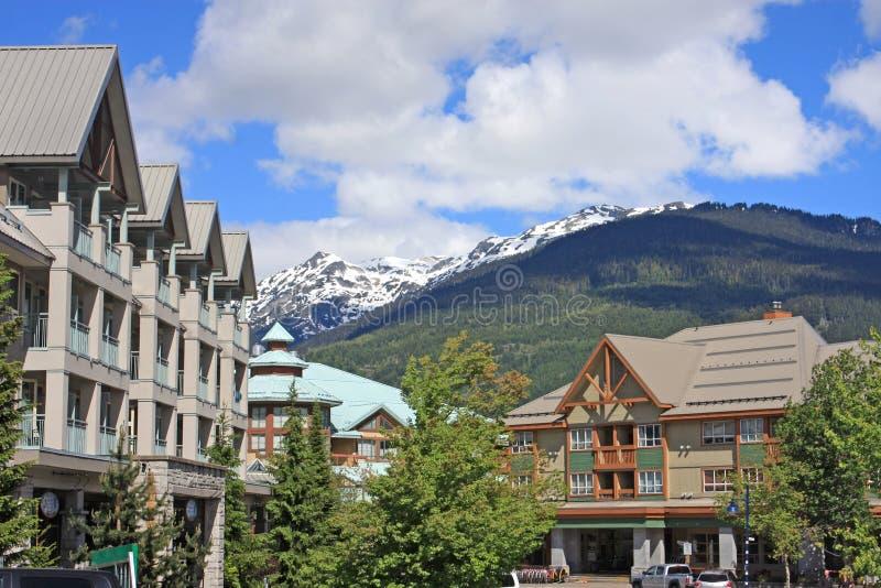 Whistler, British Columbia. Street in Whistler town, Canada stock photo