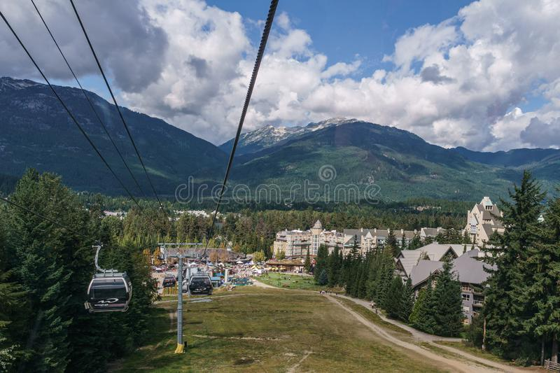 WHISTLER, CANADA - AUGUST 25, 2019: amazing view from gondola lift summer time. Blackcomb, mountain, recreation, resort, tourism, travel, vacation, alpine stock images