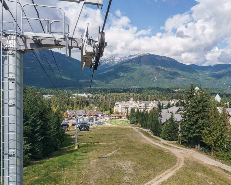 WHISTLER, CANADA - AUGUST 25, 2019: amazing view from gondola lift summer time. Blackcomb, mountain, recreation, resort, tourism, travel, vacation, alpine stock photography