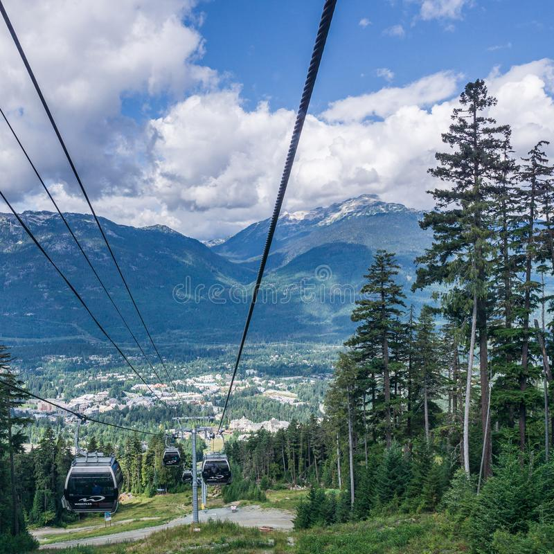 WHISTLER, CANADA - AUGUST 25, 2019: amazing view from gondola lift summer time. Blackcomb, mountain, recreation, resort, tourism, travel, vacation, alpine royalty free stock photo