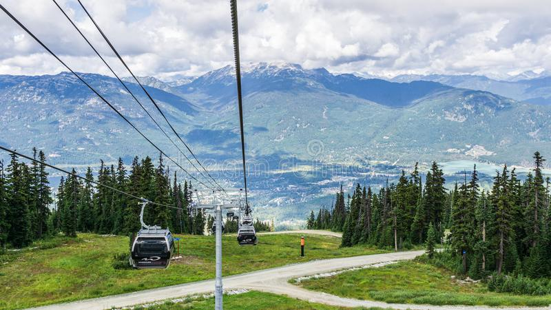 WHISTLER, CANADA - AUGUST 25, 2019: amazing view from gondola lift summer time. Blackcomb, mountain, recreation, resort, tourism, travel, vacation, alpine royalty free stock photography