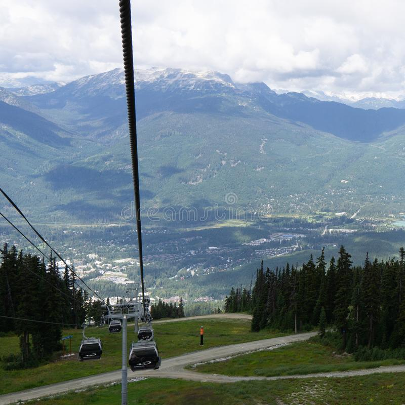 WHISTLER, CANADA - AUGUST 25, 2019: amazing view from gondola lift summer time. Blackcomb, mountain, recreation, resort, tourism, travel, vacation, alpine stock image