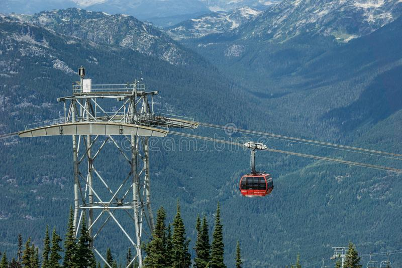 WHISTLER, CANADA - AUGUST 25, 2019: whistler blackcomb red Peak 2 Peak Gondola. High, freedom, modern, mountains, tourists, transport, new, trip, british stock images