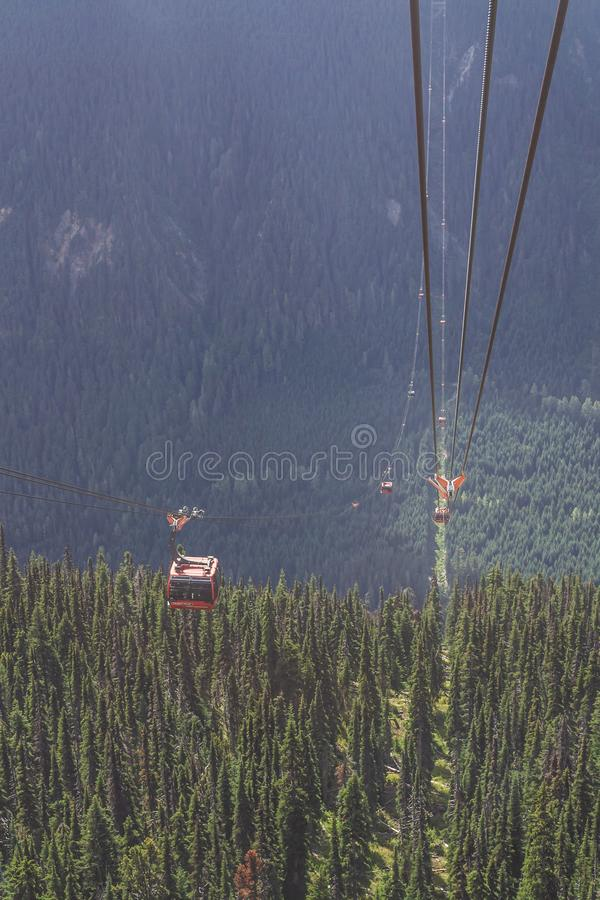 WHISTLER, CANADA - AUGUST 25, 2019: whistler blackcomb red Peak 2 Peak Gondola. High, freedom, modern, mountains, tourists, transport, new, trip, british stock image