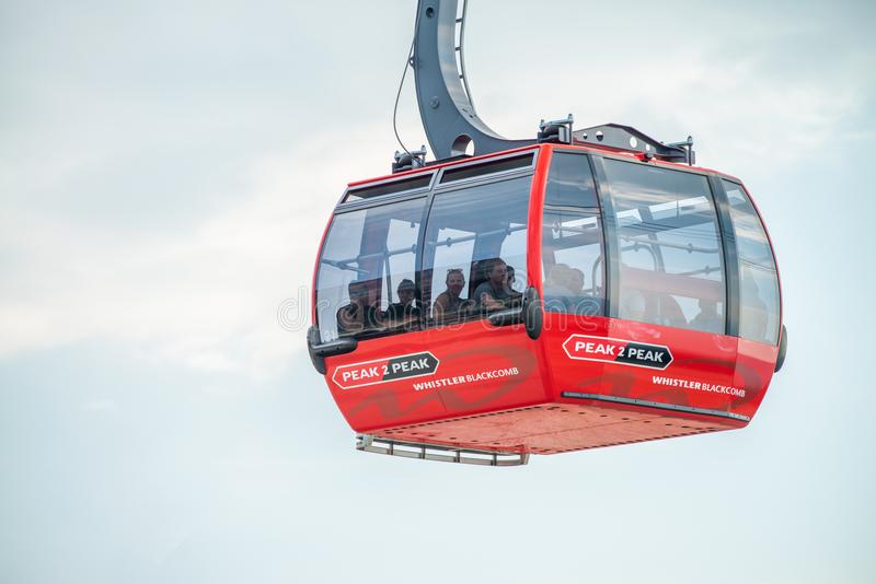 WHISTLER, CANADA - AUGUST 12, 2017: Peak 2 Peak Gondola afgains. WHISTLER, CANADA - AUGUST 12, 2017: Peak 2 Peak Gondola af gainst white sky. This is a major royalty free stock photography