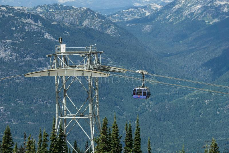 WHISTLER, CANADA - AUGUST 25, 2019: whistler blackcomb blue Peak 2 Peak Gondola. High, freedom, modern, mountains, tourists, transport, new, trip, british royalty free stock photo
