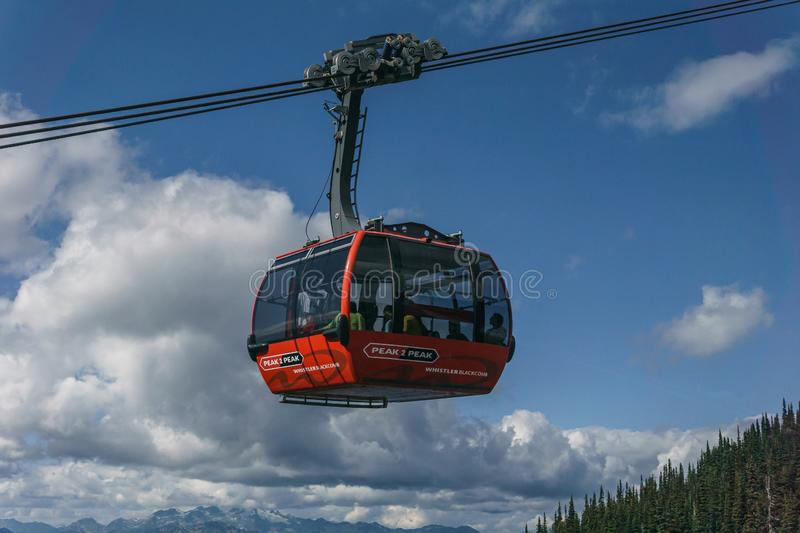 WHISTLER, CANADA - AUGUST 25, 2019: whistler blackcomb red Peak 2 Peak Gondola. High, freedom, modern, mountains, tourists, transport, new, trip, british stock photo