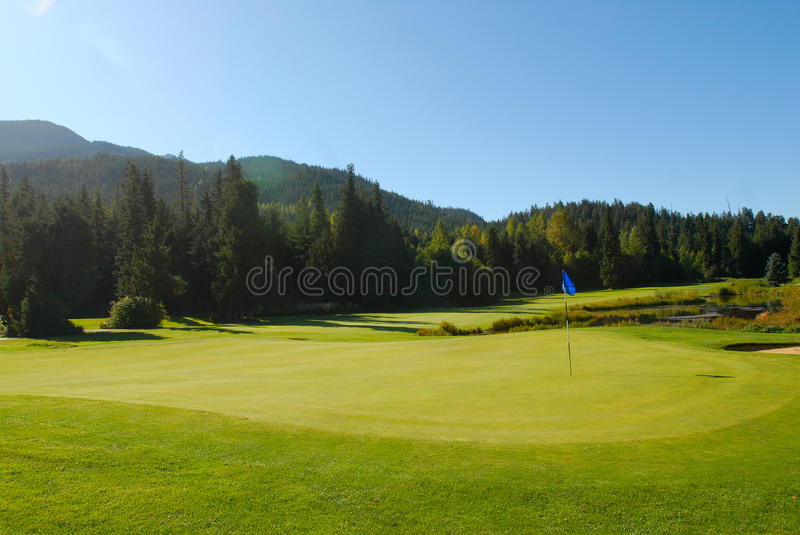 Whistler Golf Green. Gorgeous view of the 12th hole. Whistler Golf Club royalty free stock photo