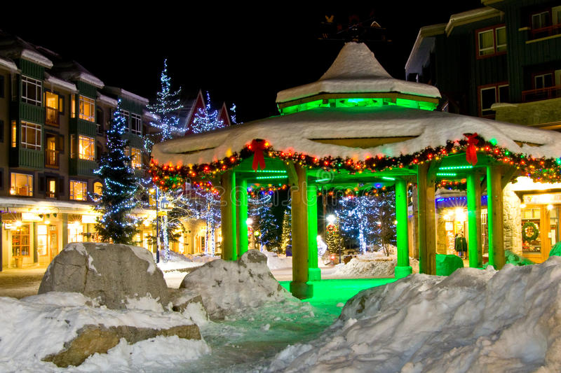 Whistler Lights. Some christmas light in Whistler to celebrate the holidays stock photo