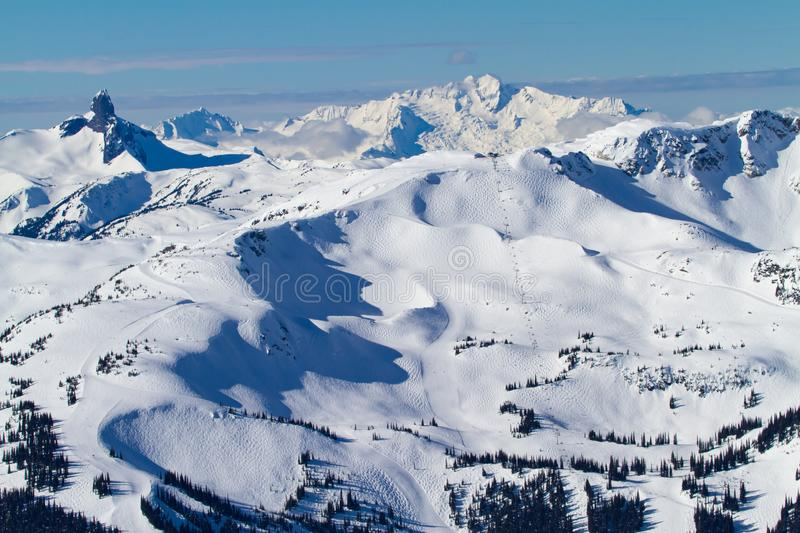 Whistler Mountain and other mountains nearby. Whistler Mountain and the neighbourhood mountains viewed from Blackcomb mountain royalty free stock image