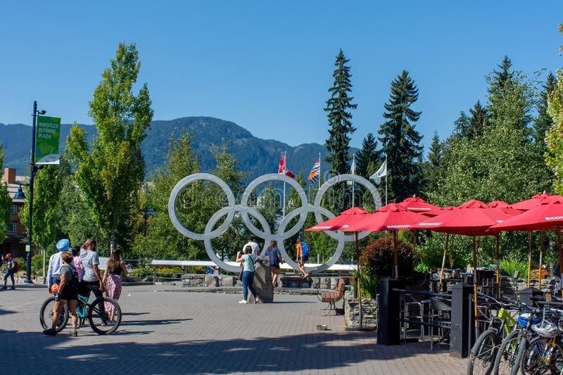Whistler Olympics Village from 2010 Winter Games. Open Square in summer looking at mountain range and stage royalty free stock photography