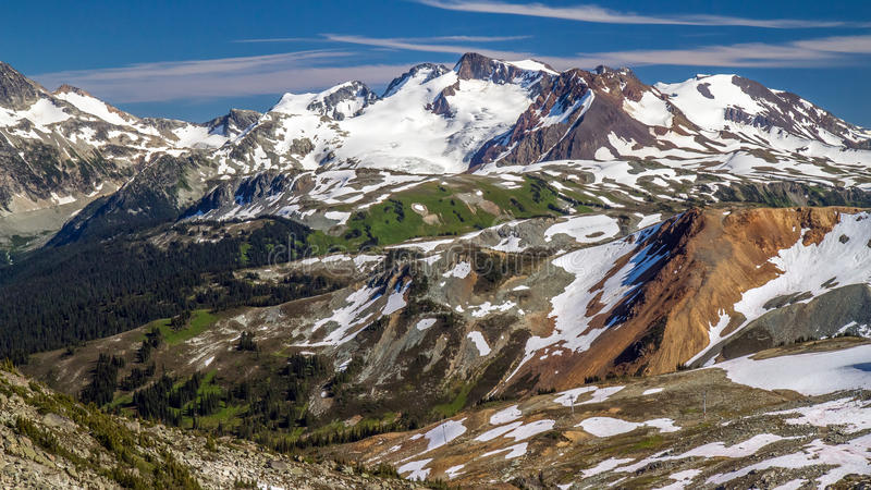 Whistler Summit in Summer. Hiking Whistler mountain Summit in Summer in beautiful british columbia stock images