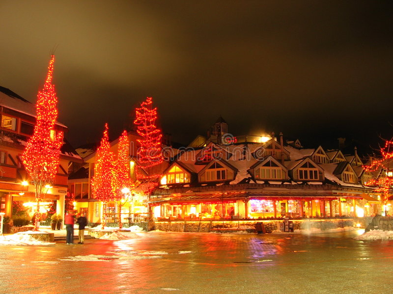 Whistler Village. A long exposure nighttime photo of Whistler Village in British Columbia,Canada