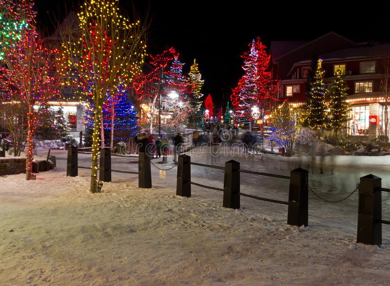 Whistler Village. Christmas night illuminating Whistler Village in the winter time royalty free stock images