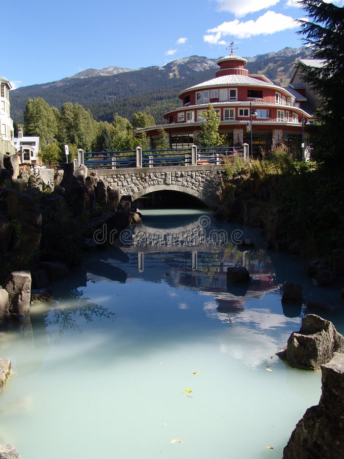 Whistler Village. A pool reflecting a building at Whistler Village BC stock image