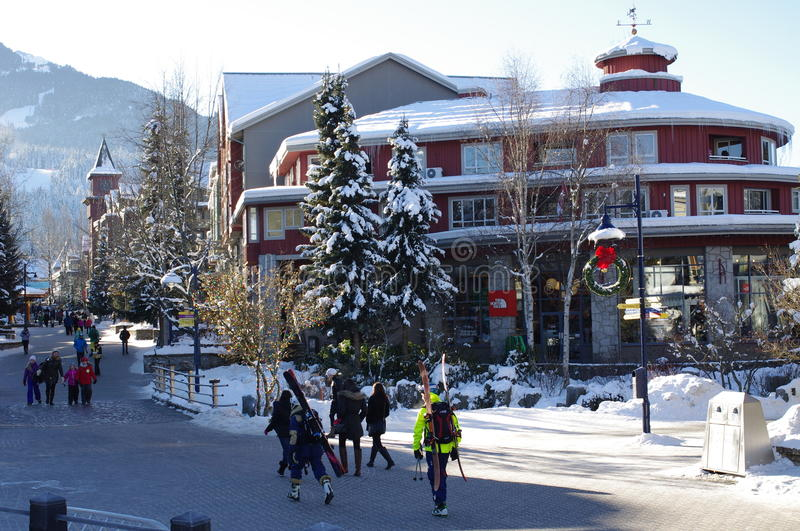 Whistler Village vibe. Pedestrian-friendly Whistler Village, a Canadian resort town on the west coast royalty free stock image