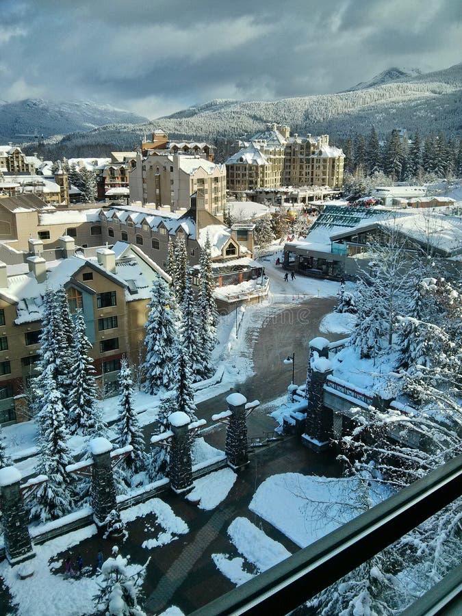 Whistler Village in winter. Ski resort at Olympic Village. Whistler. British Columbia. Canada stock photo