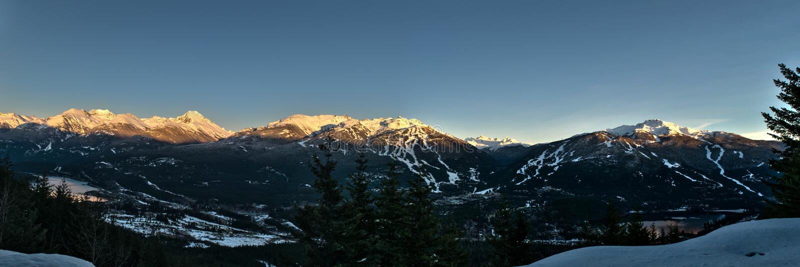 Whistler winter sunset. Whistler valley alpine glow sunset royalty free stock image