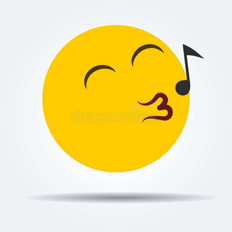 Whistling emoticon in a flat design royalty free stock photo