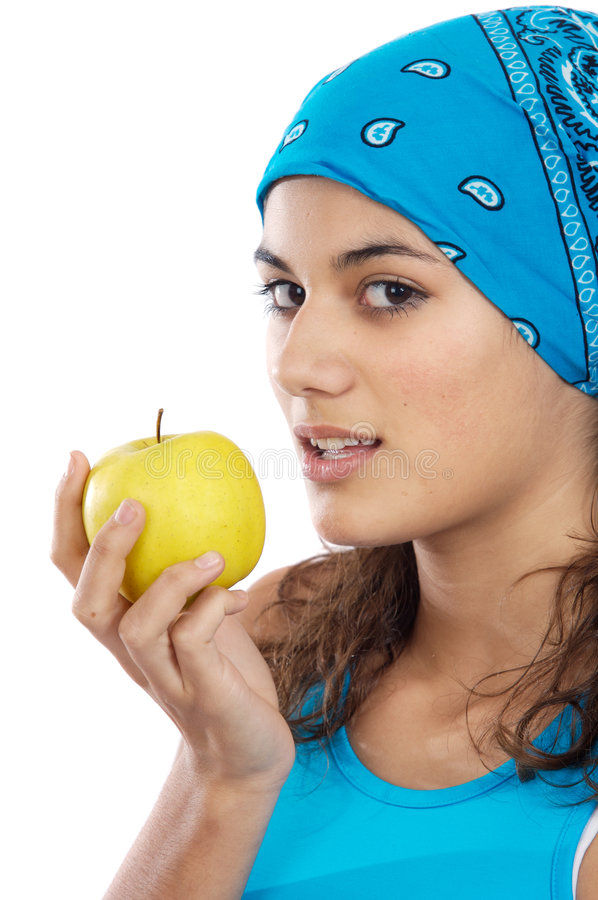 Whit da menina uma maçã imagens de stock royalty free