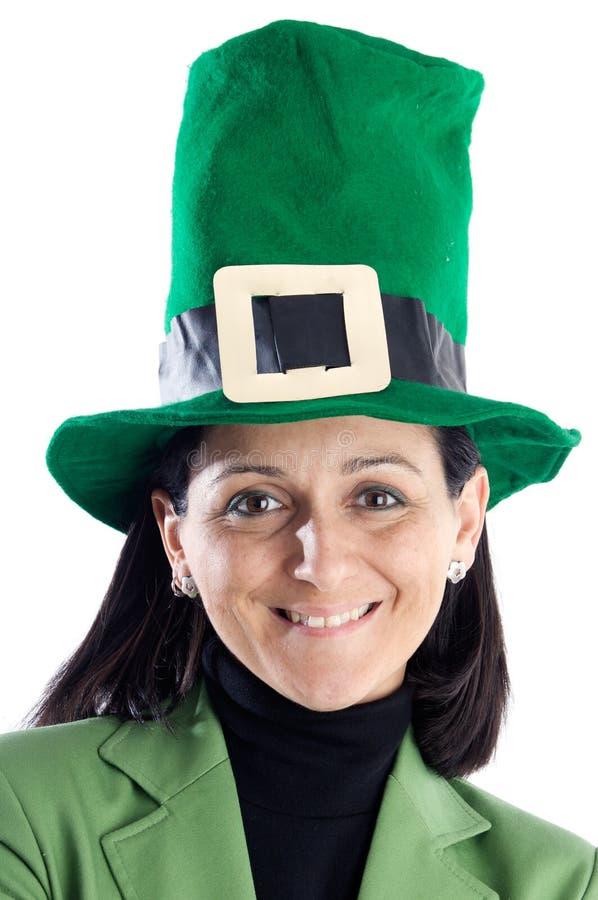 Whit da mulher um verde do chapéu foto de stock royalty free