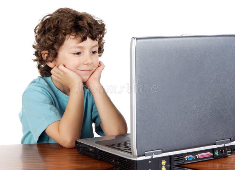 whit laptopa dziecka obraz royalty free