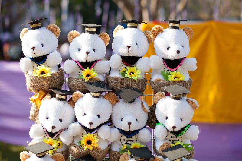 Whit-Staffelungskappe Teddybär des Glückwunsches reizend lizenzfreies stockfoto