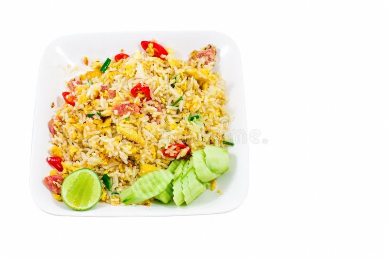 Whit Tailândia do arroz fritado fotografia de stock royalty free