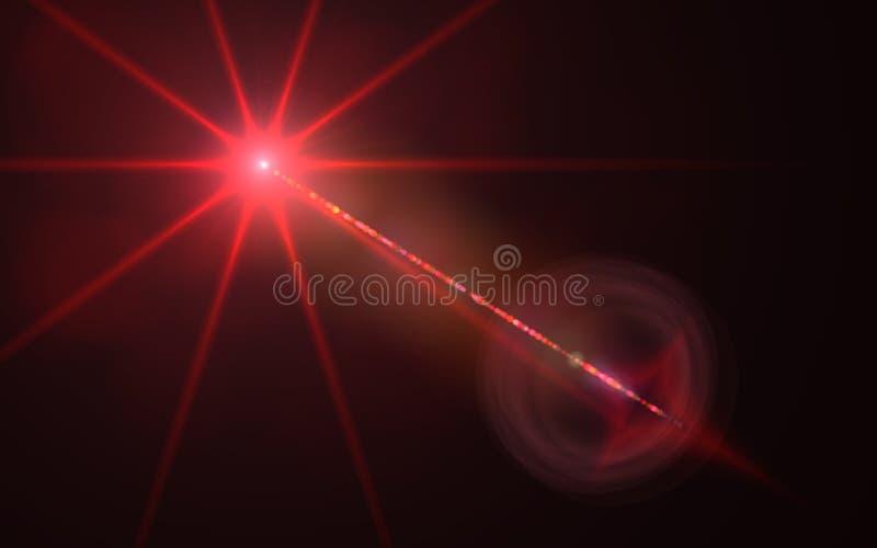 Whit van de aarbal gloed van de strook de digitale rode lens in zwarte vector illustratie