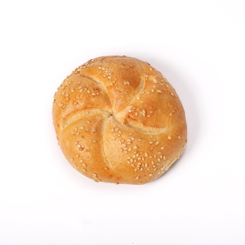 Whit van het broodjesbroodje geïsoleerde sesam royalty-vrije stock foto's