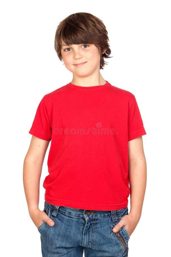 Whit van het kind rood overhemd stock foto
