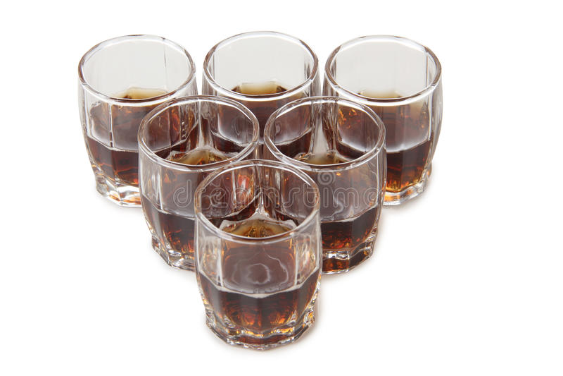 Whit van het whiskyglas ijsblokje stock foto's