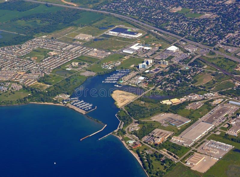 Whitby海岸线,空中 免版税图库摄影