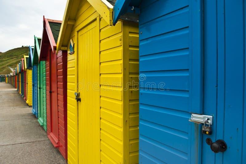 Whitby海滩小屋 免版税库存照片
