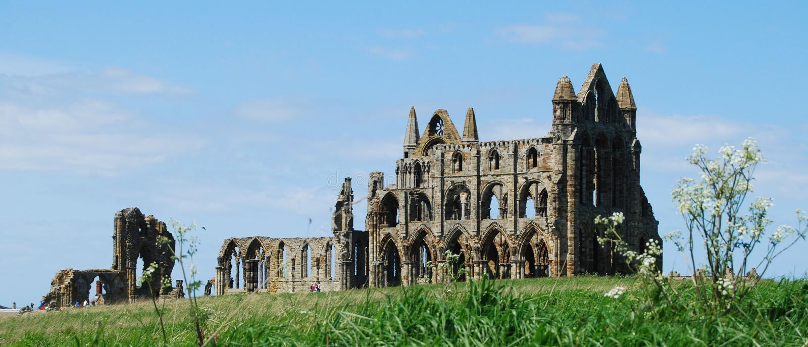 Whitby Abbey, North Yorkshire. Whitby Abbey is a ruined Benedictine abbey overlooking the North Sea on the East Cliff above Whitby in North Yorkshire, England royalty free stock images